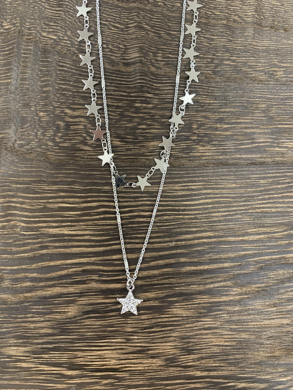 Two Layer Stars Rhinstone Charm Necklace