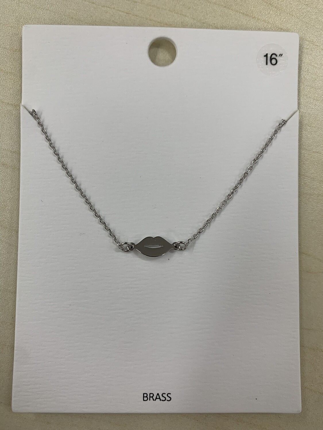 XS Silver Lips Necklace