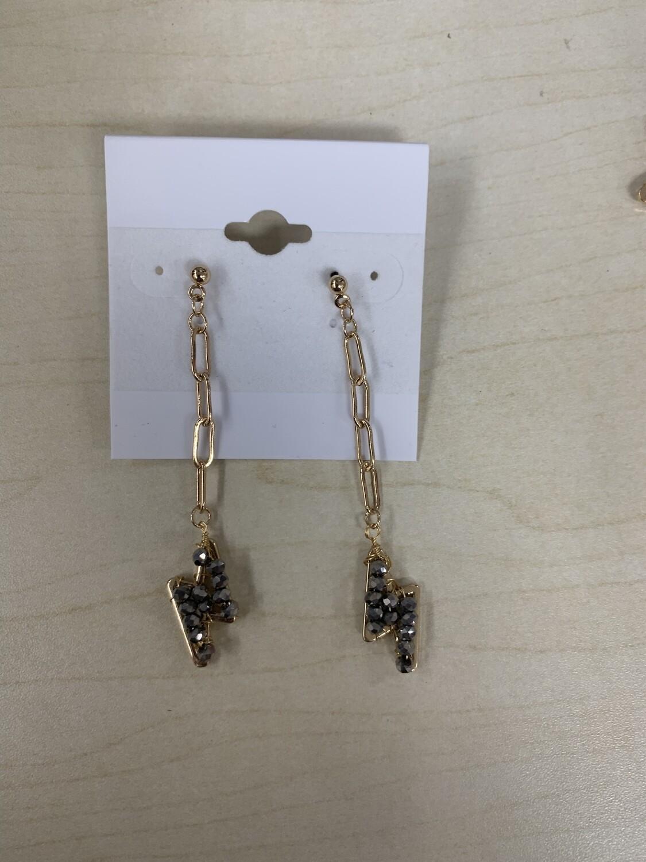 Chain Link Lightning Bolt Earrings