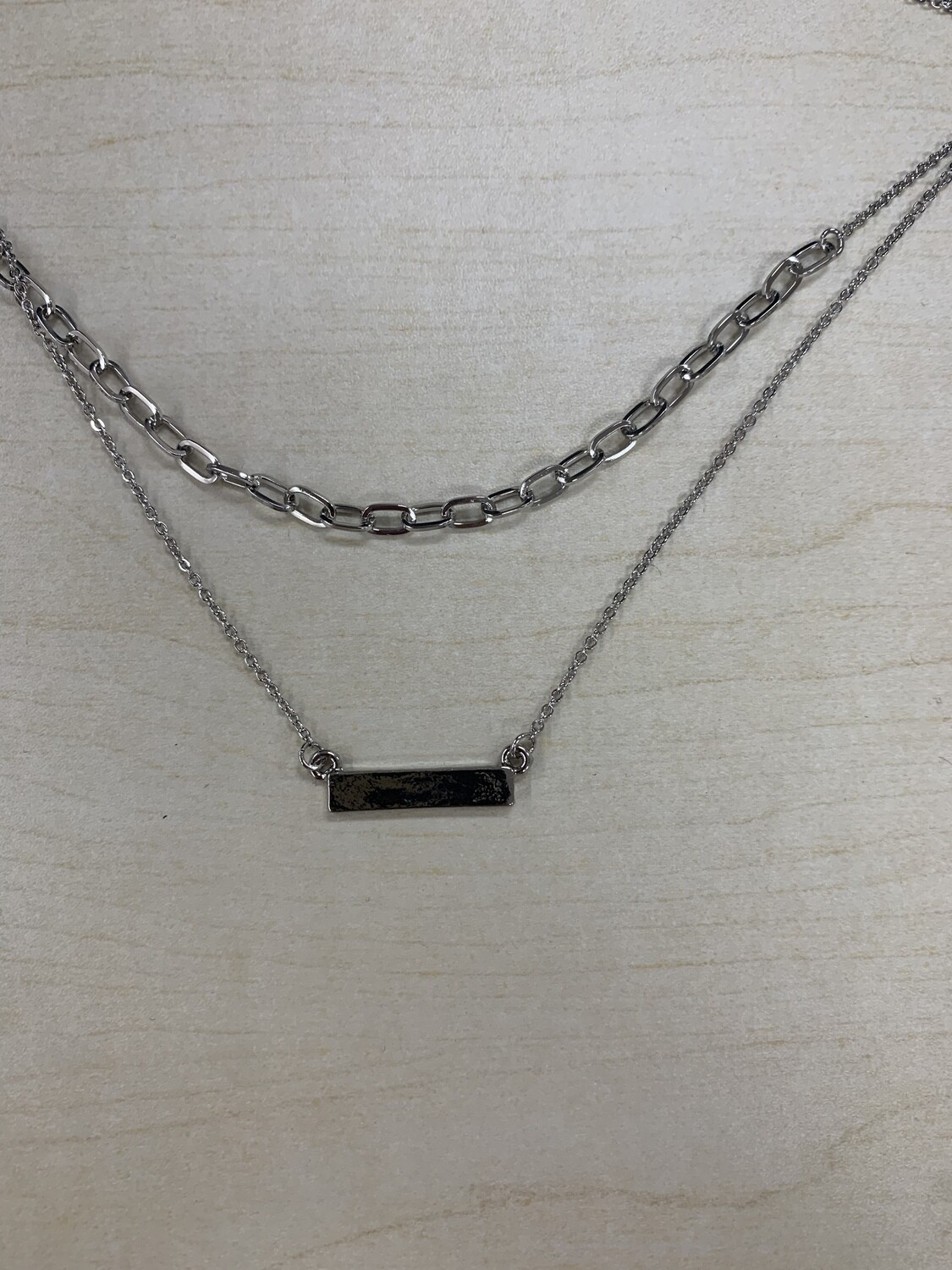 Silver Chain Link with Bar Two Layer Necklace Small