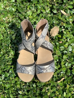 Corkys Fay Taupe Snakeskin Shoes