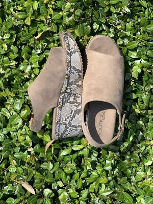 Corkys Westbrook Taupe Snakeskin Shoes