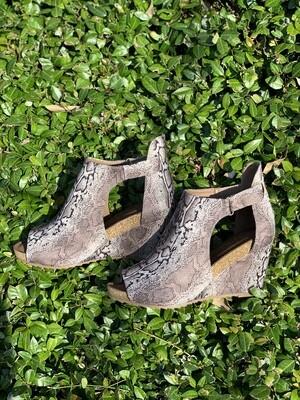 Corkys Sunburst Brown Snakeskin Shoes
