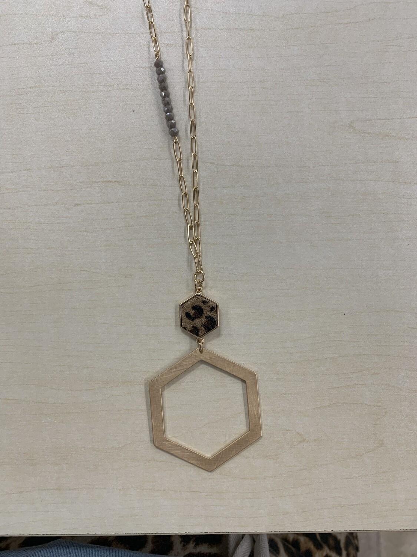 Matte Gold Open Hexagon Animal Print Necklace