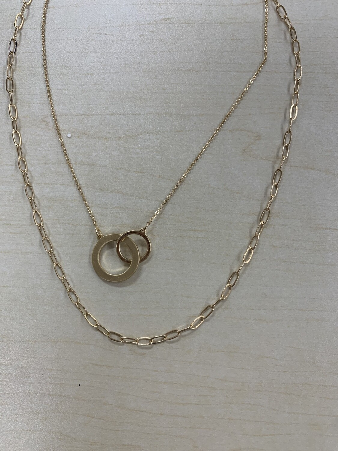 Matte Gold Open Linked Circle Two Layer Necklace