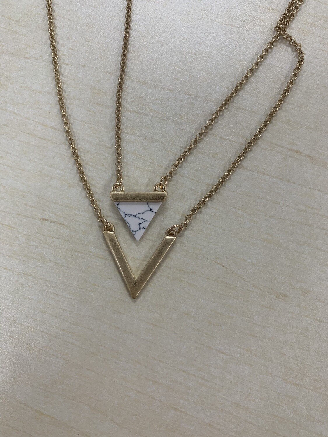 Two Layer Gold Triangle Stone Necklace