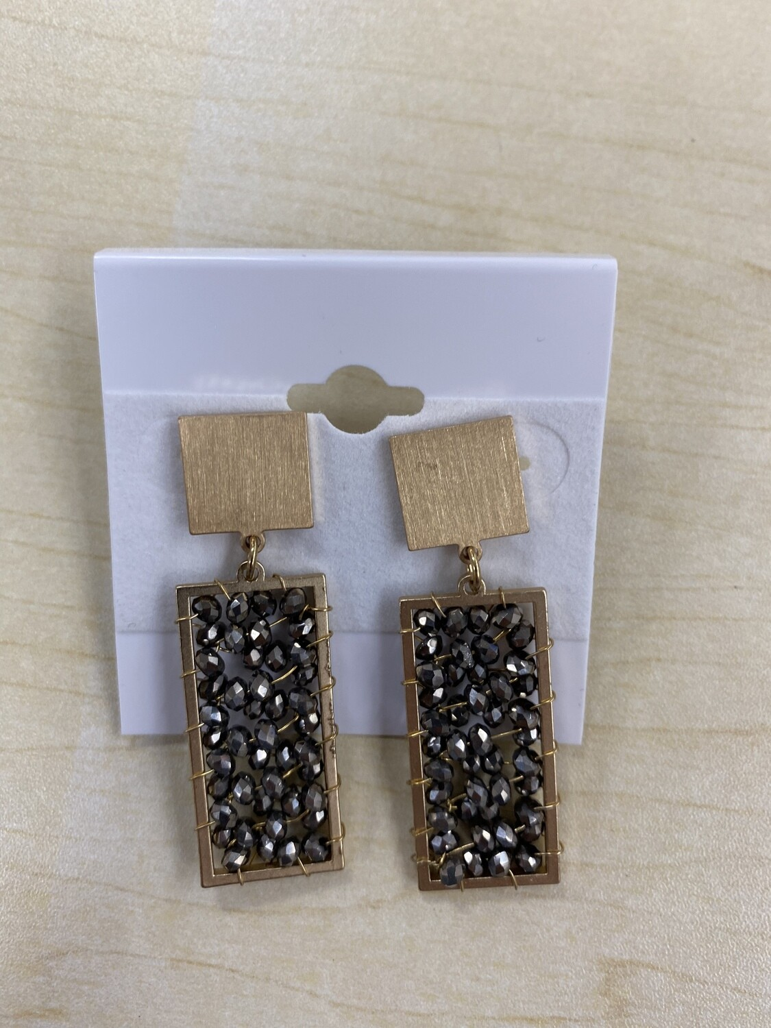 Crystal Rectangle with Gold Square Earring