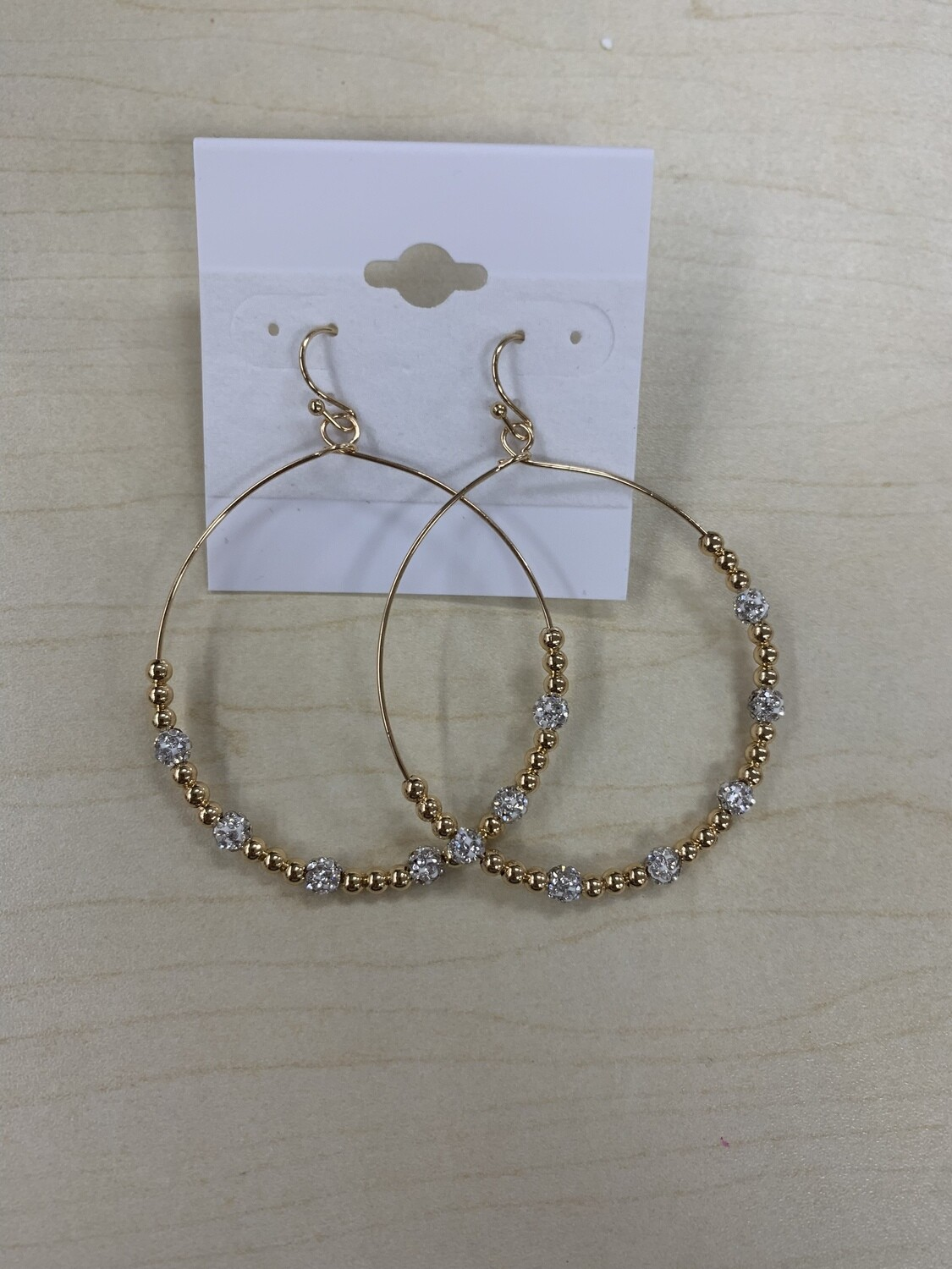 Open Hoop with Beading Gold Earrings