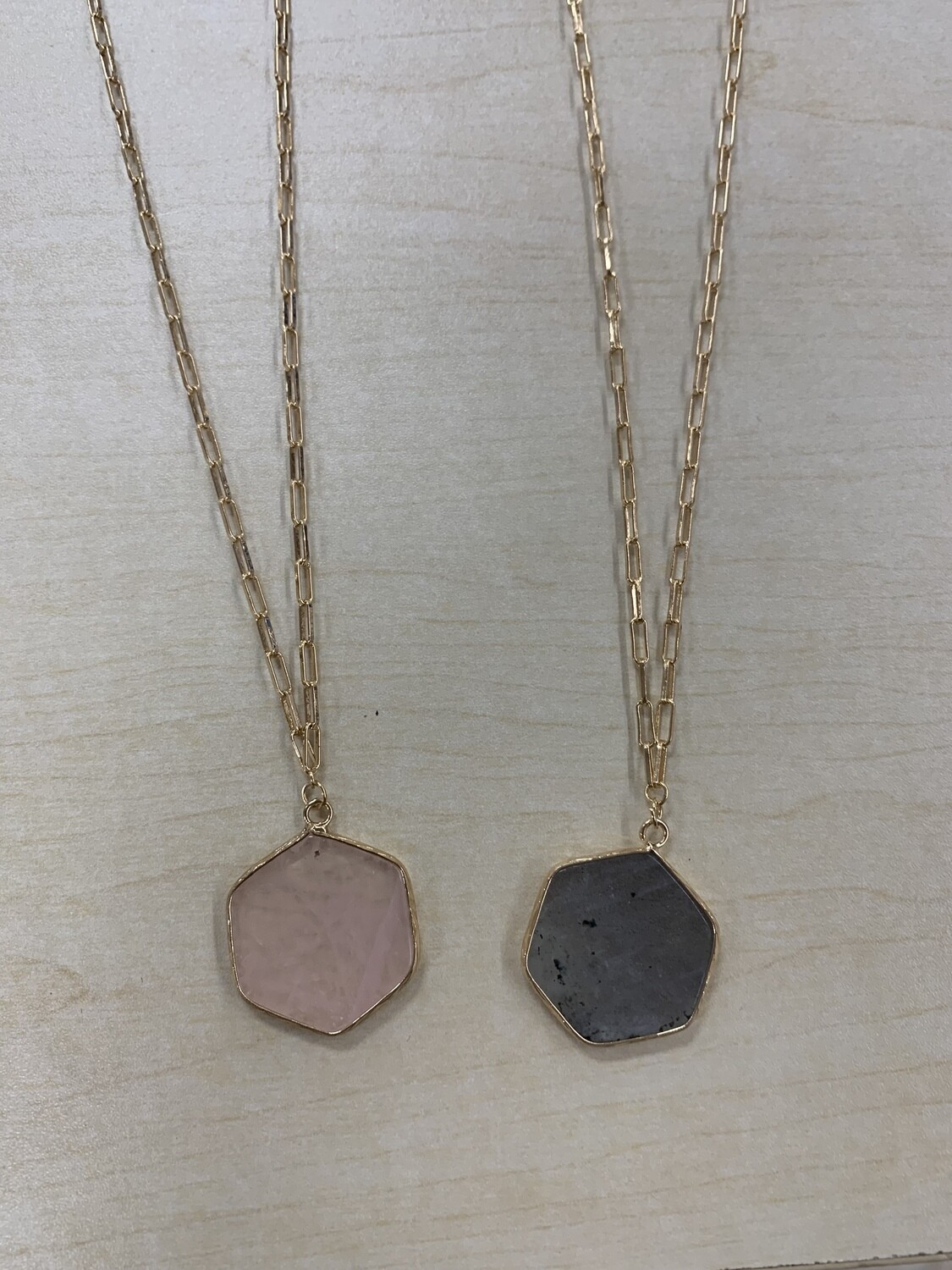 Hexagon Natural Stone Gold Chain Necklace Set