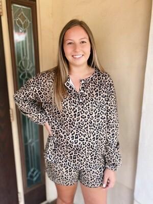 Brown Leopard Pajama Set