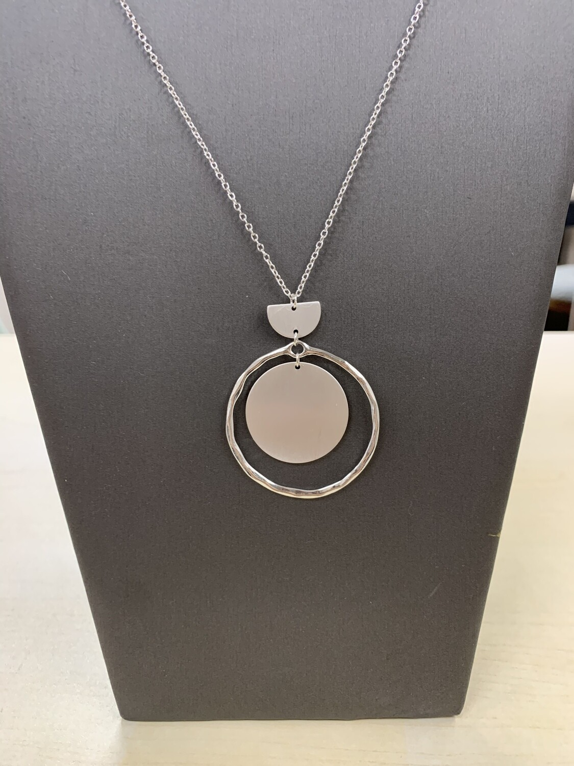 Long Silver Circle Outline Necklace