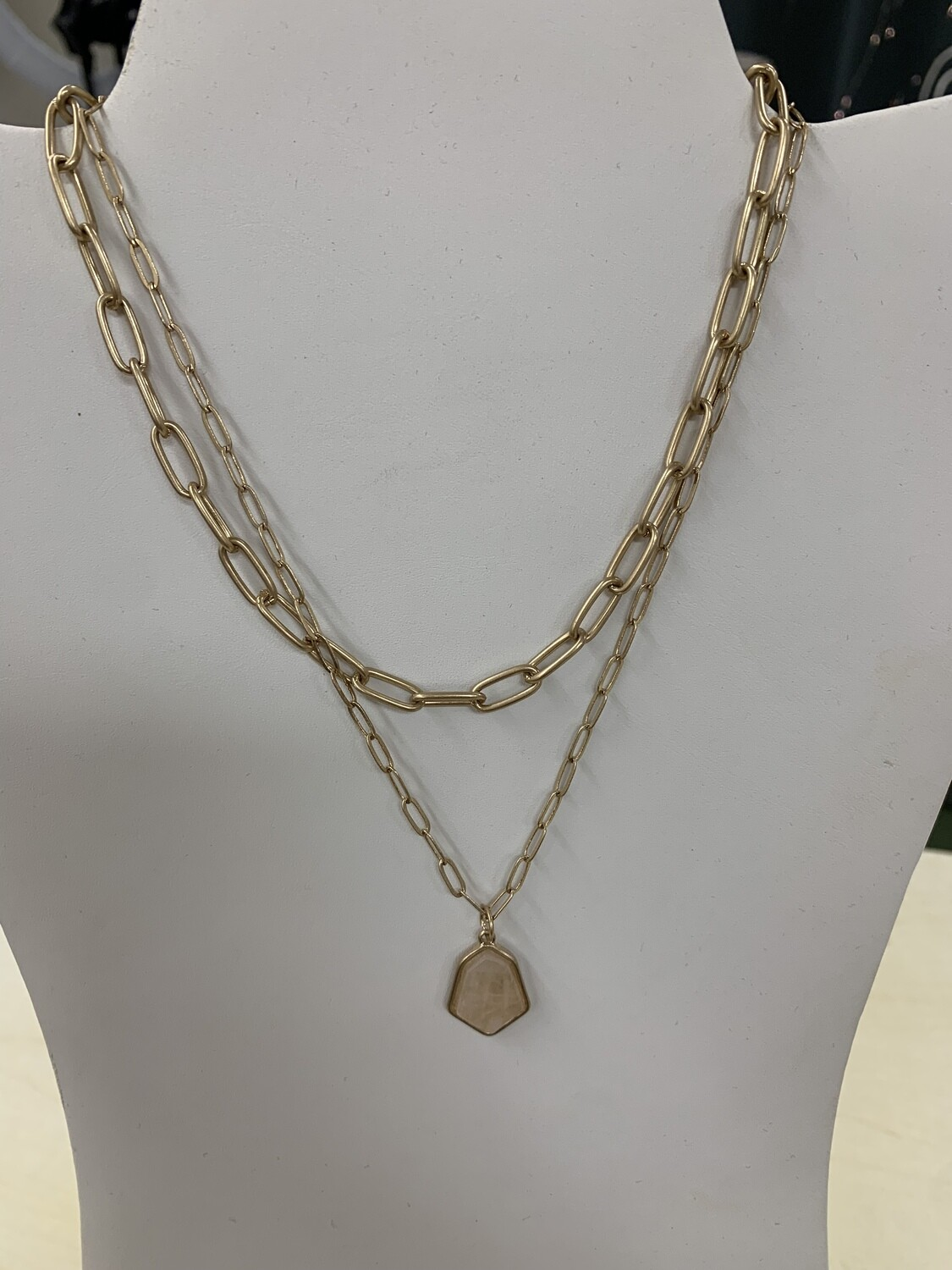 Chain Link Natural Stone Necklace