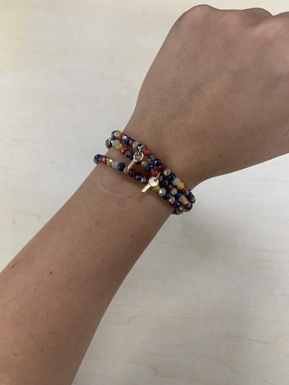 3pc Bracelet Set Multicolor Crystal Beads with Lock Key