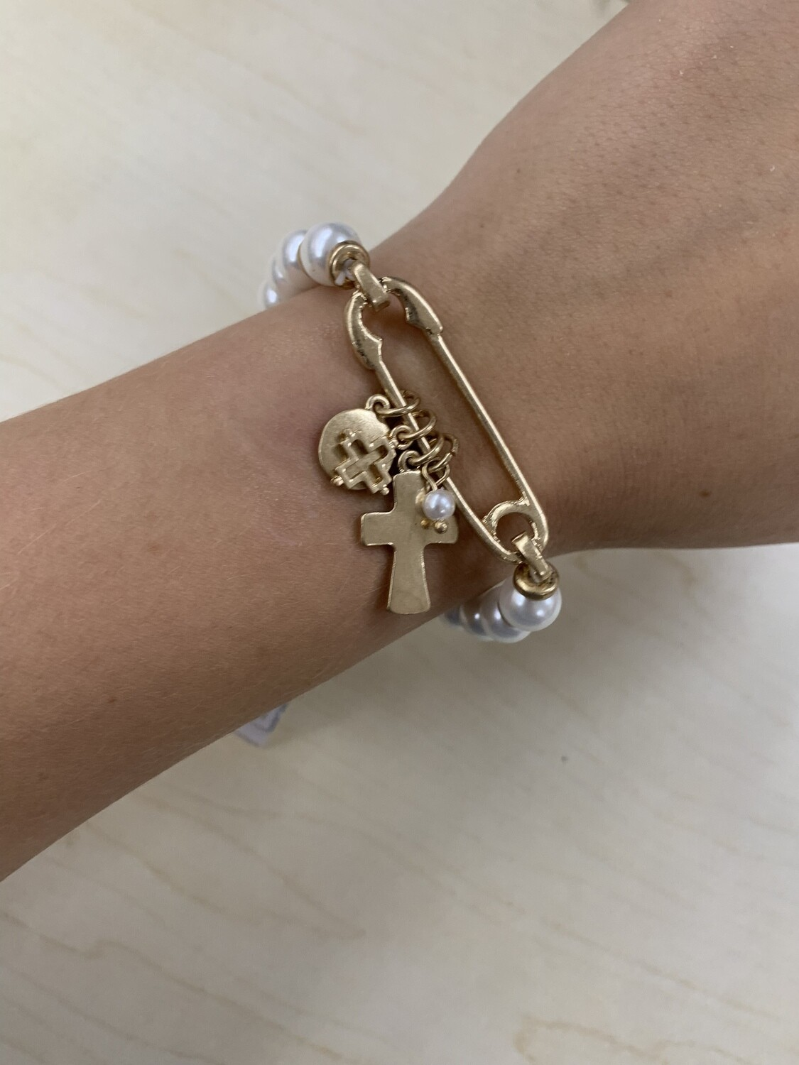 Beaded Safety Pin Bracelets With Charms