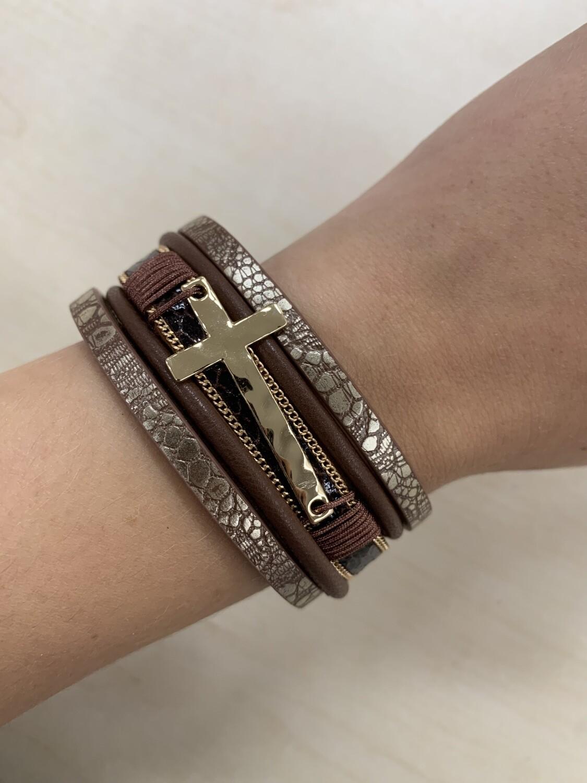 Leather Cross Magnetic Wrap Bracelet