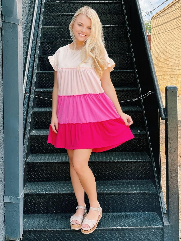 Color Block Pink Shades Babydoll Dress