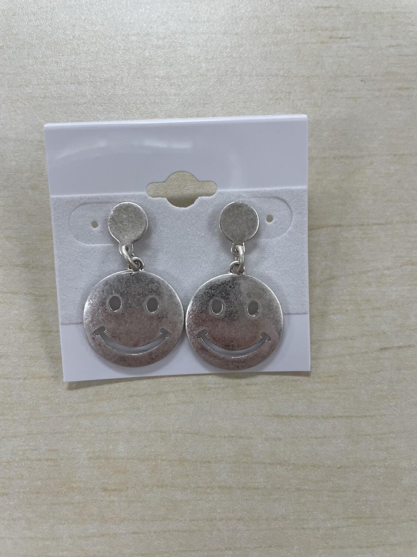 Matte Smiley Face Dangle Earrings