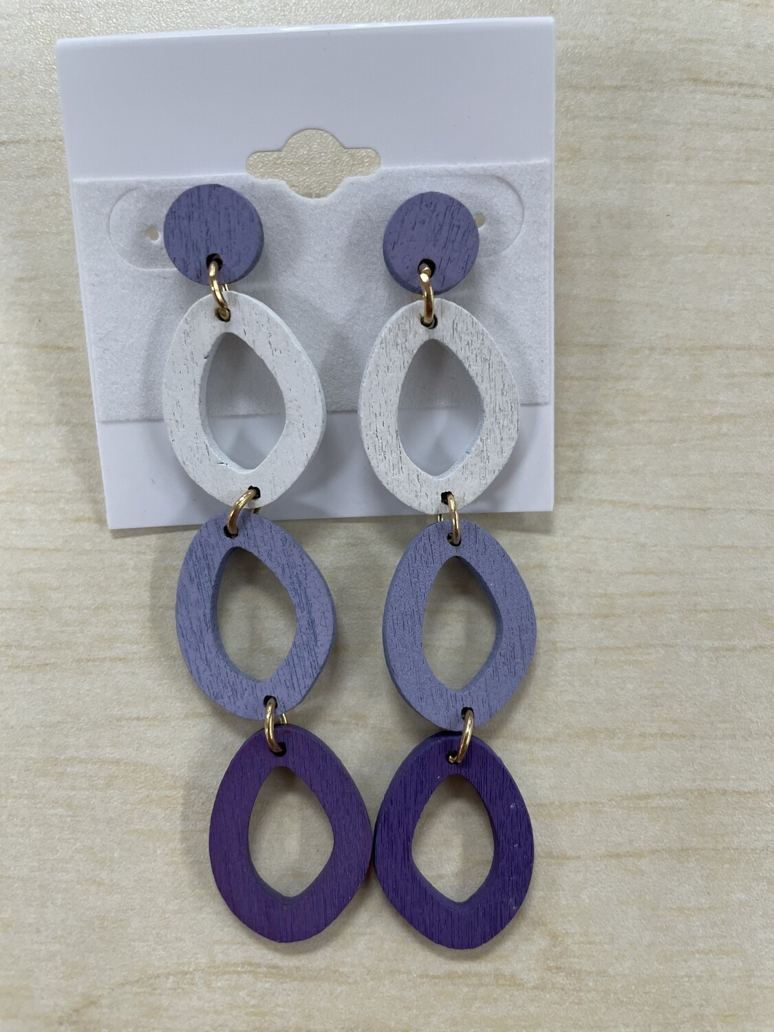 Multi Color Circles Wooden Earrings