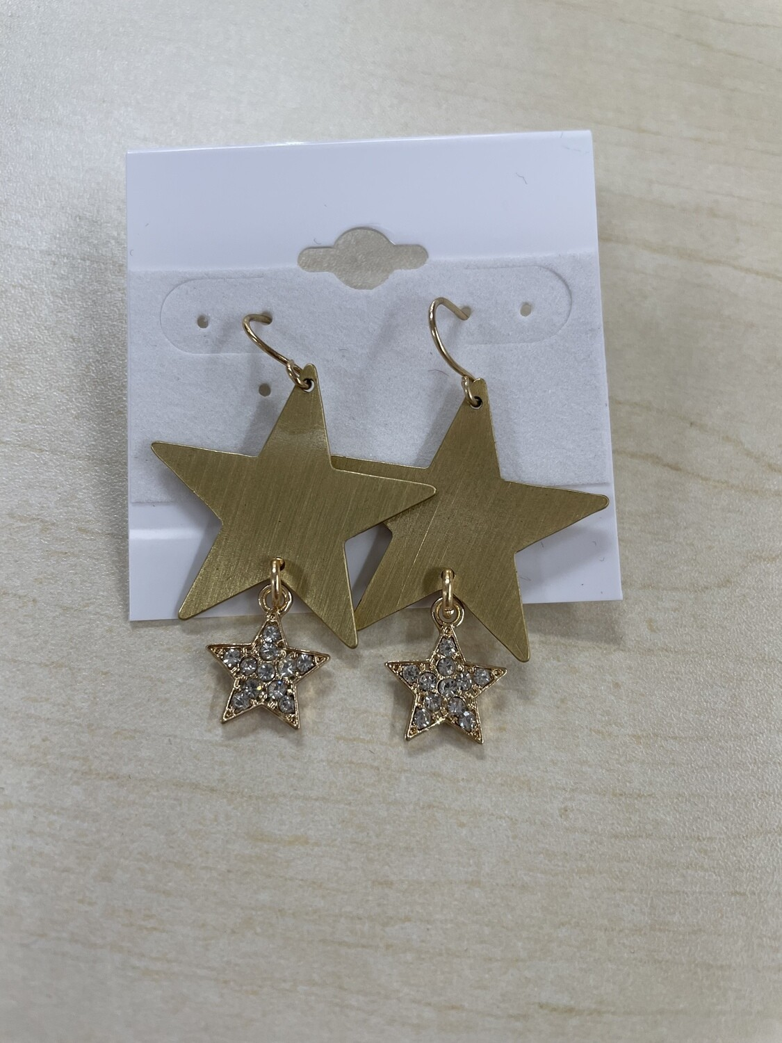 Matte Gold Large Star with Small Rhinestone Star Earrings