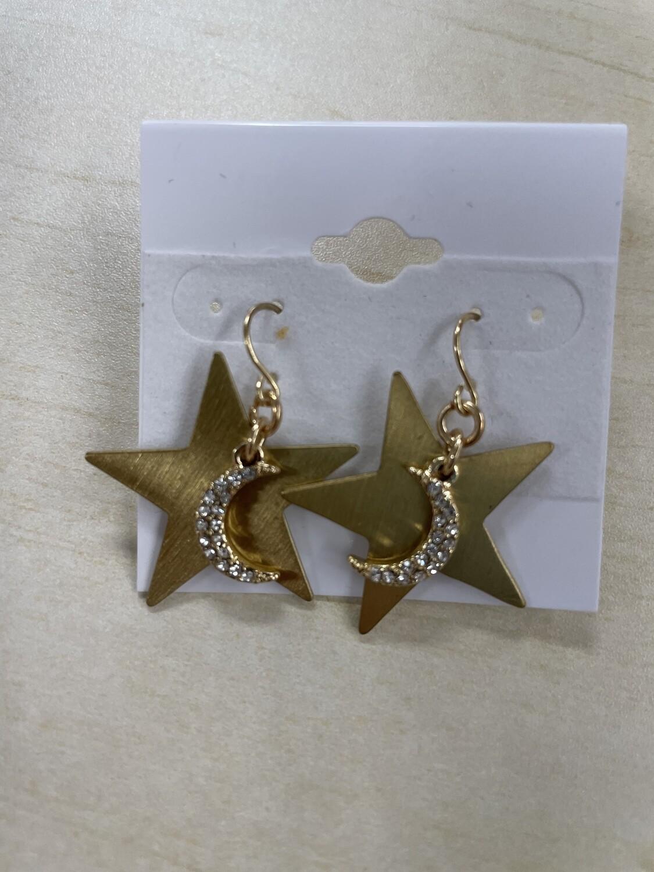 Star Dangles with Rhinestone Moon Earrings