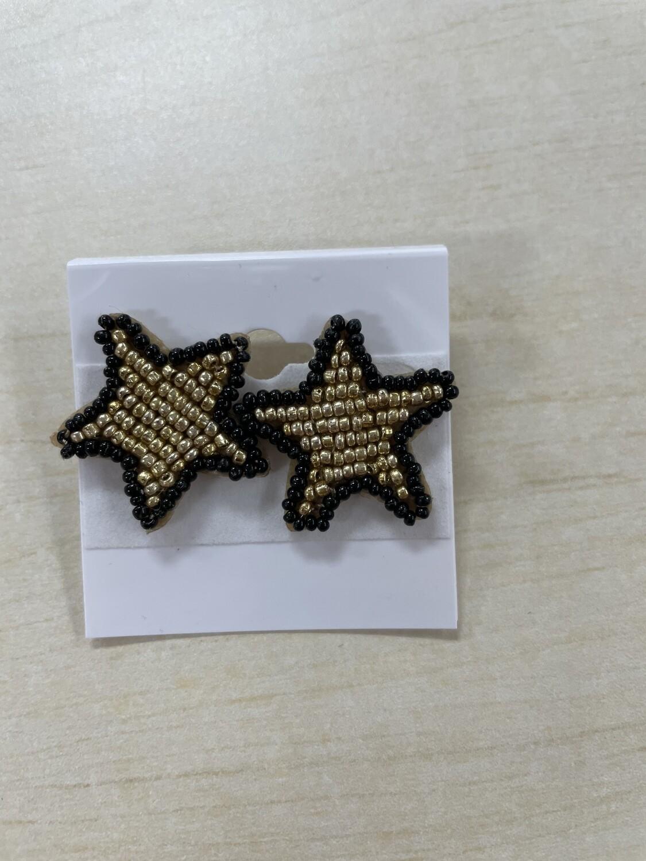 Beaded Gold Star Earrings with Black Outline