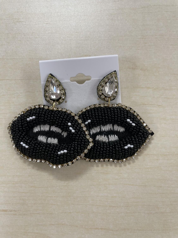 Large Black with Rhinestone Lips Beaded Earrings