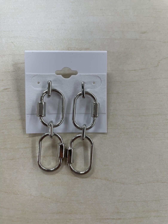 Two Wide Chainlinks Silver Earrings