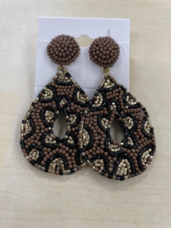 Brown Leopard Print Beaded Teardrop Earrings