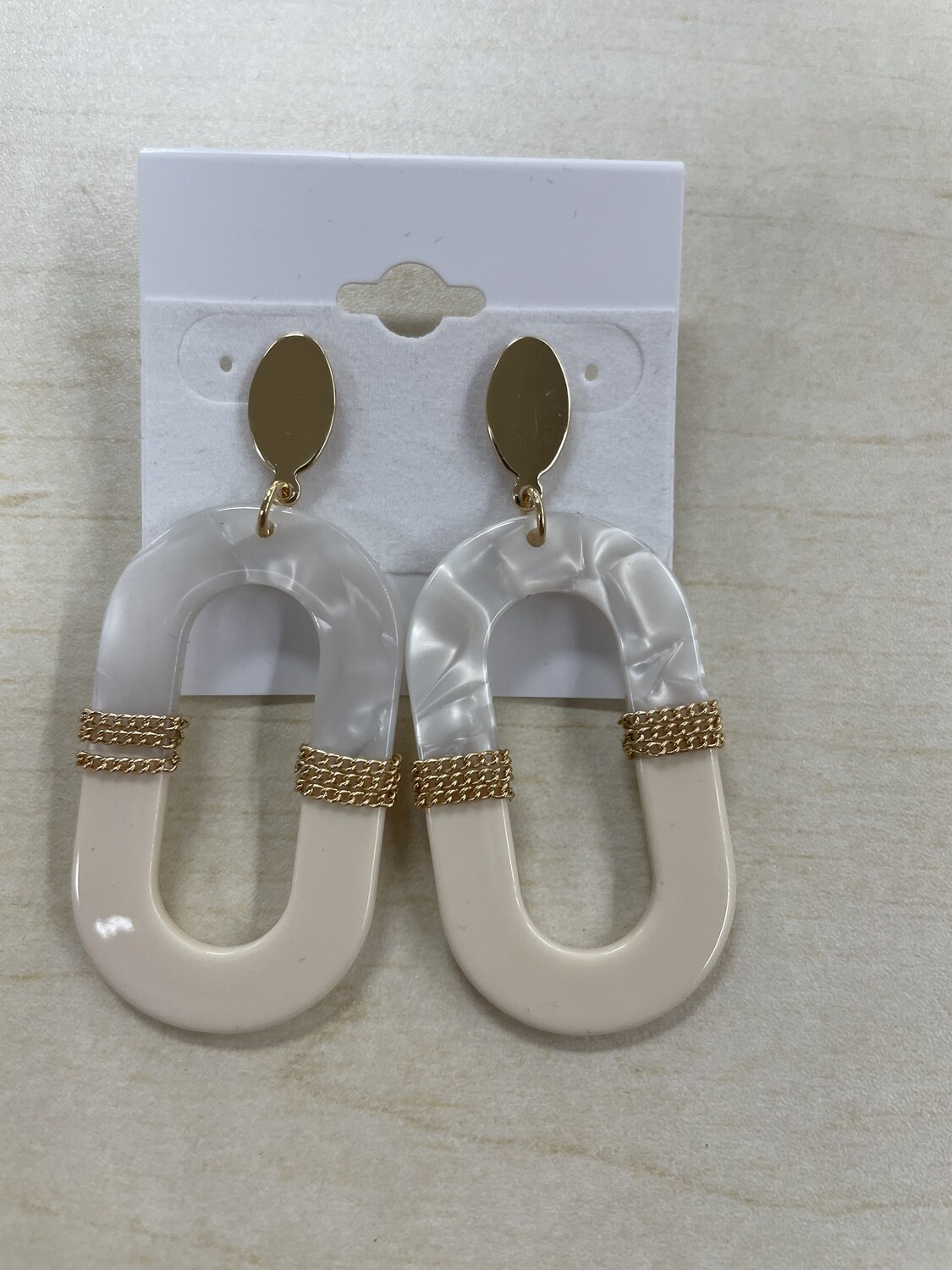 Cream with Marble Oval Shaped Stud Earrings