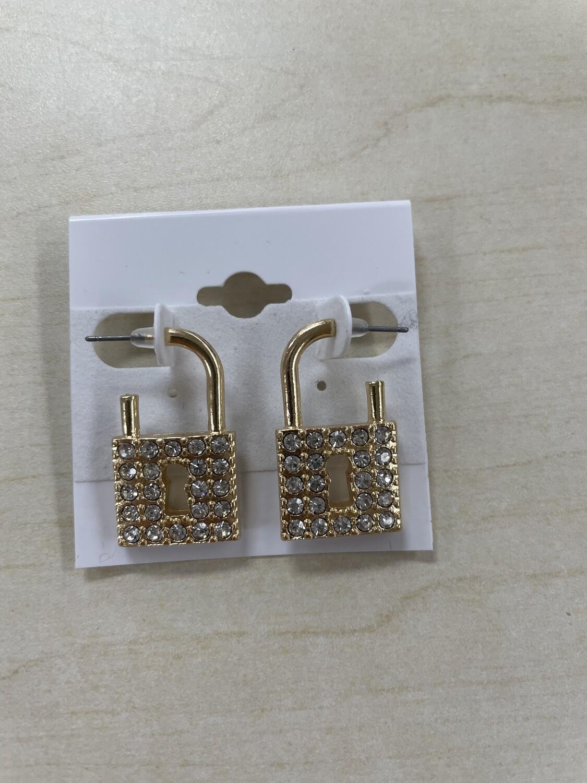 Rhinestone Lock Hoop Style Earrings