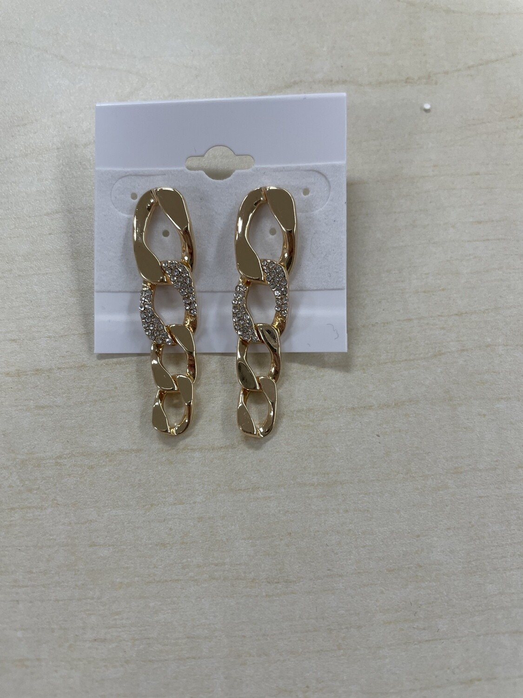 Four Links Chain with Rhinestone Earrings