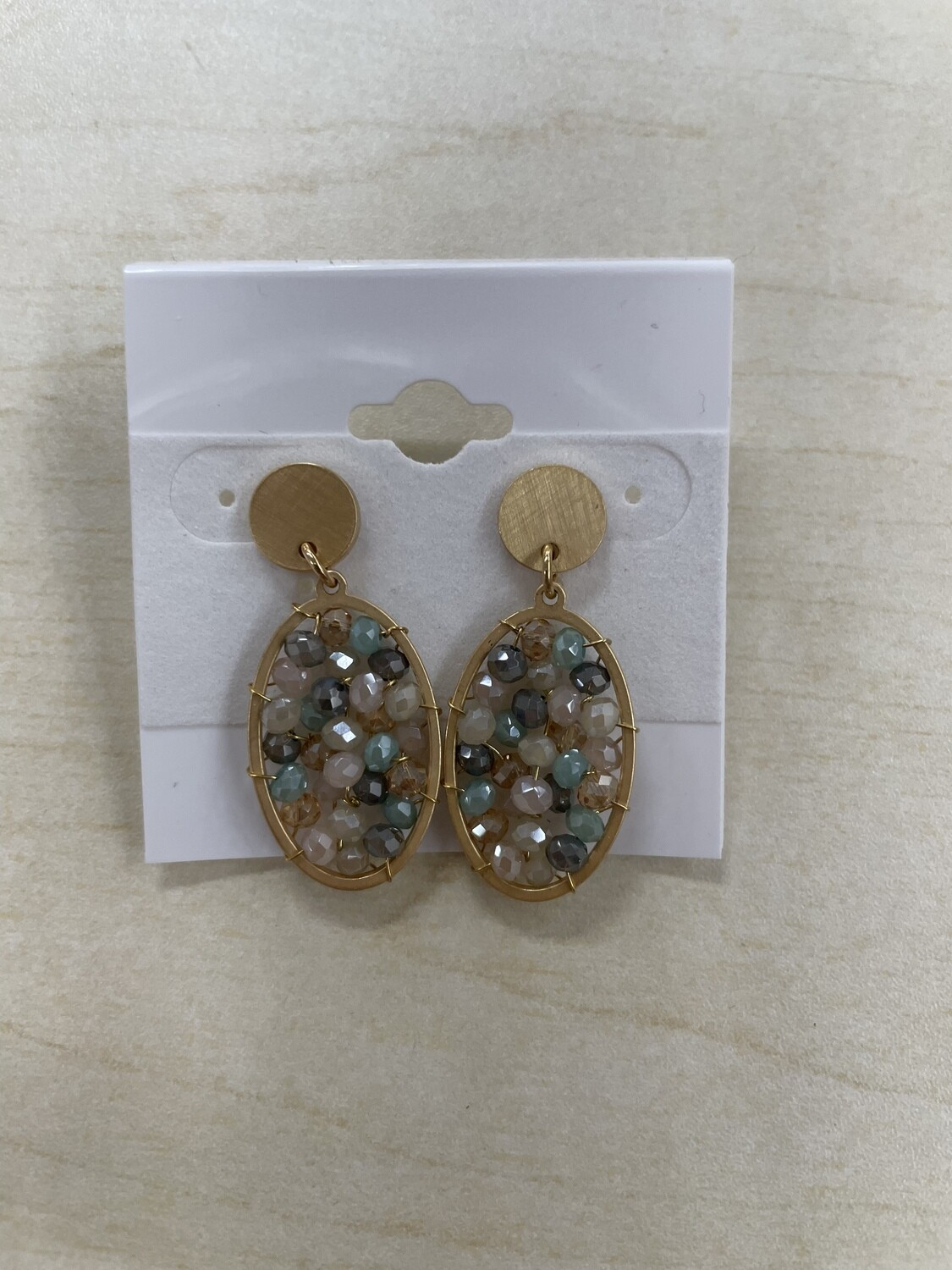 Gold Small Oval with Light Beading Earrings