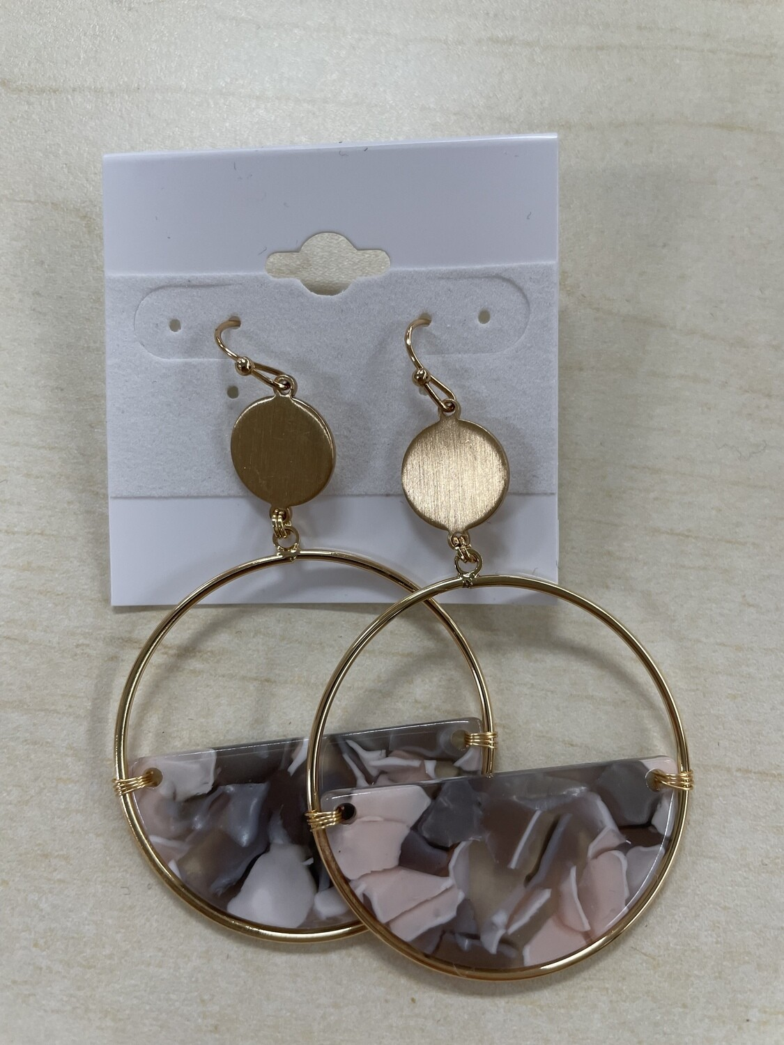 Gold Circle with Half Filled Marble Earrings