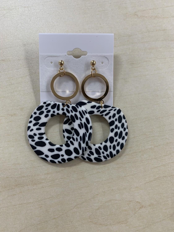 Dalmatian Circle Clay Earrings