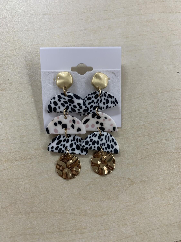 Layered Dalmatian Clay Earrings