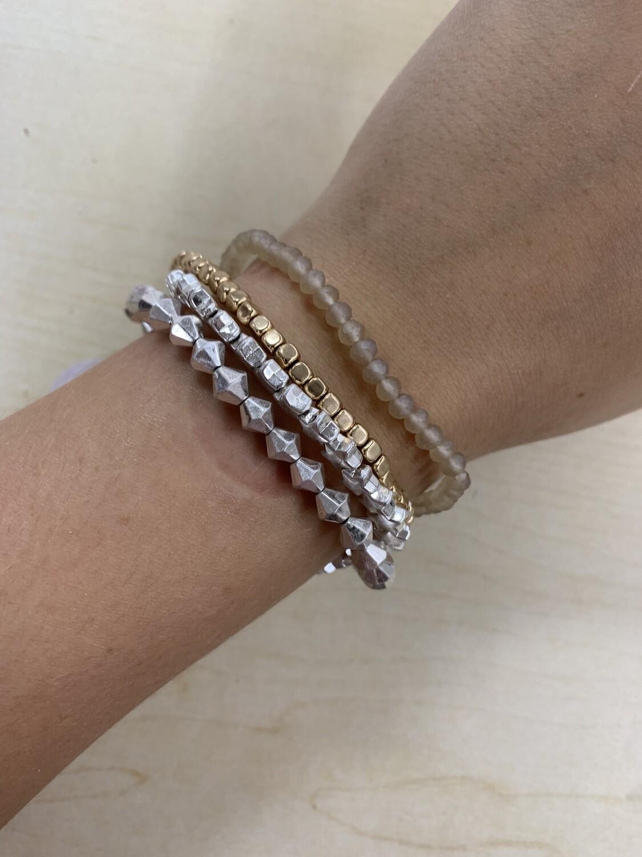 Silver Star Gold Accented Bracelet 4 Set