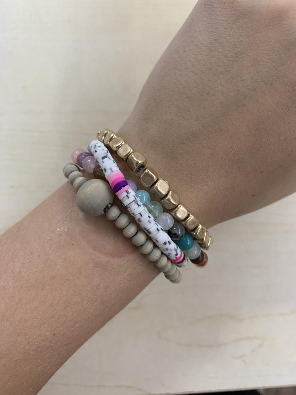 Colorful Wooden Beaded Bracelet 4 Set