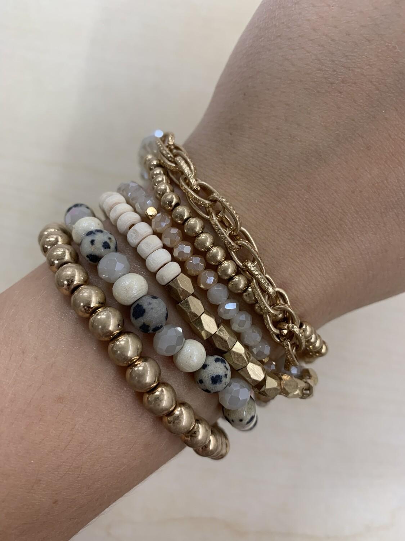 Chain Link Beaded Bracelet 6 Set
