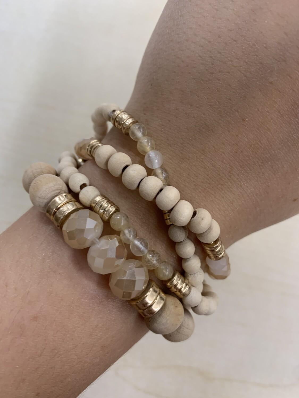 Natural Beaded Bracelet 4 Set