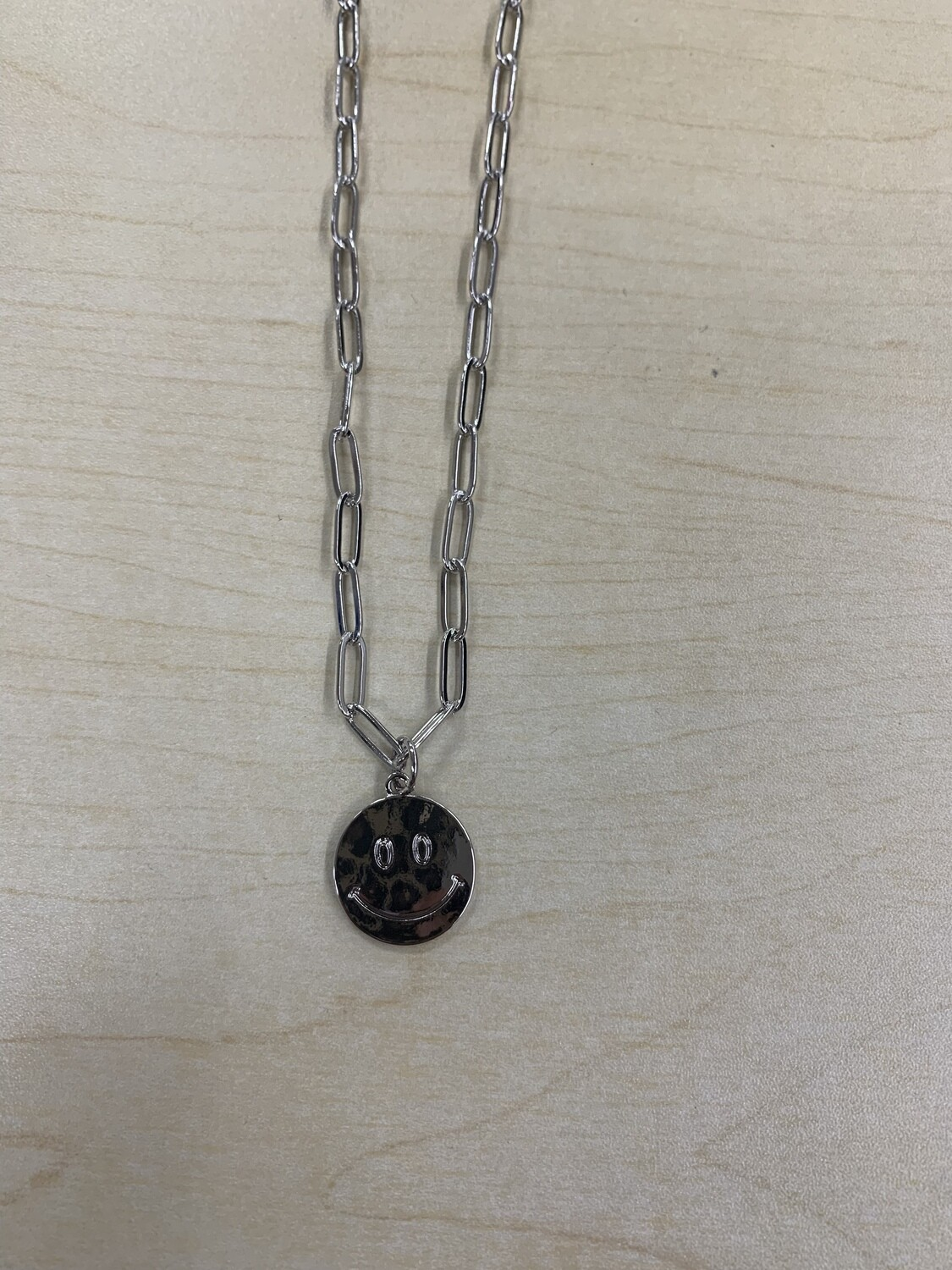 Dainty Chain Link Smiley Face Necklace