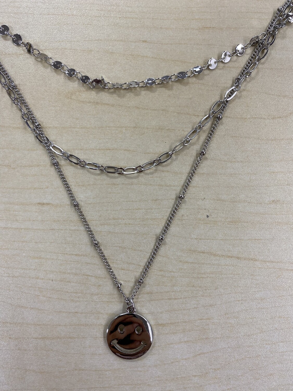 Triple Layer Chain Link Smiley Face Necklace