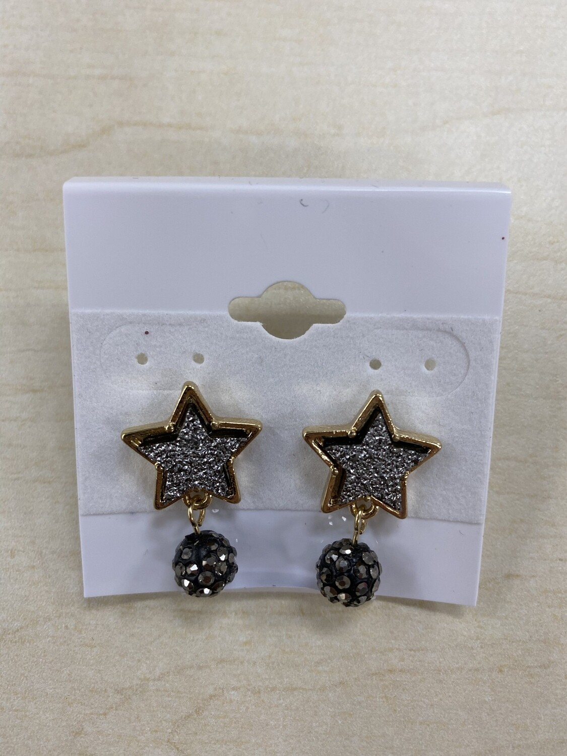 Druzy Star Earrings With Ball