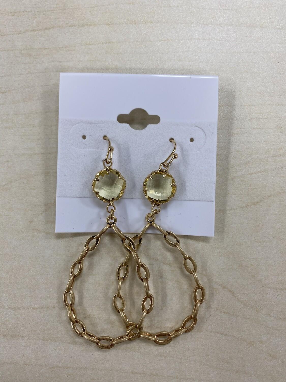 Chain Link Clear Stone Earrings
