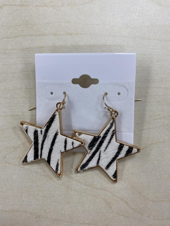 Zebra Print Star Earrings