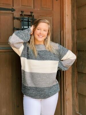 Striped Balloon Sleeve Melange Sweater