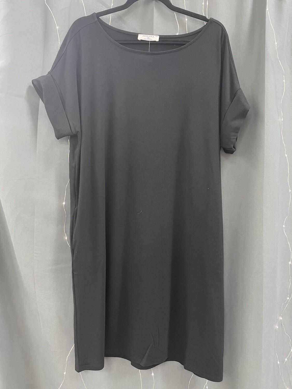 Black Rolled Sleeve T-shirt Dress (Plus)