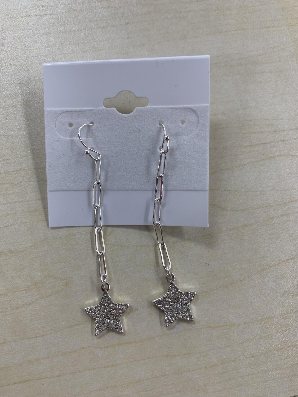 Chain with Rhinestone Star Earrings