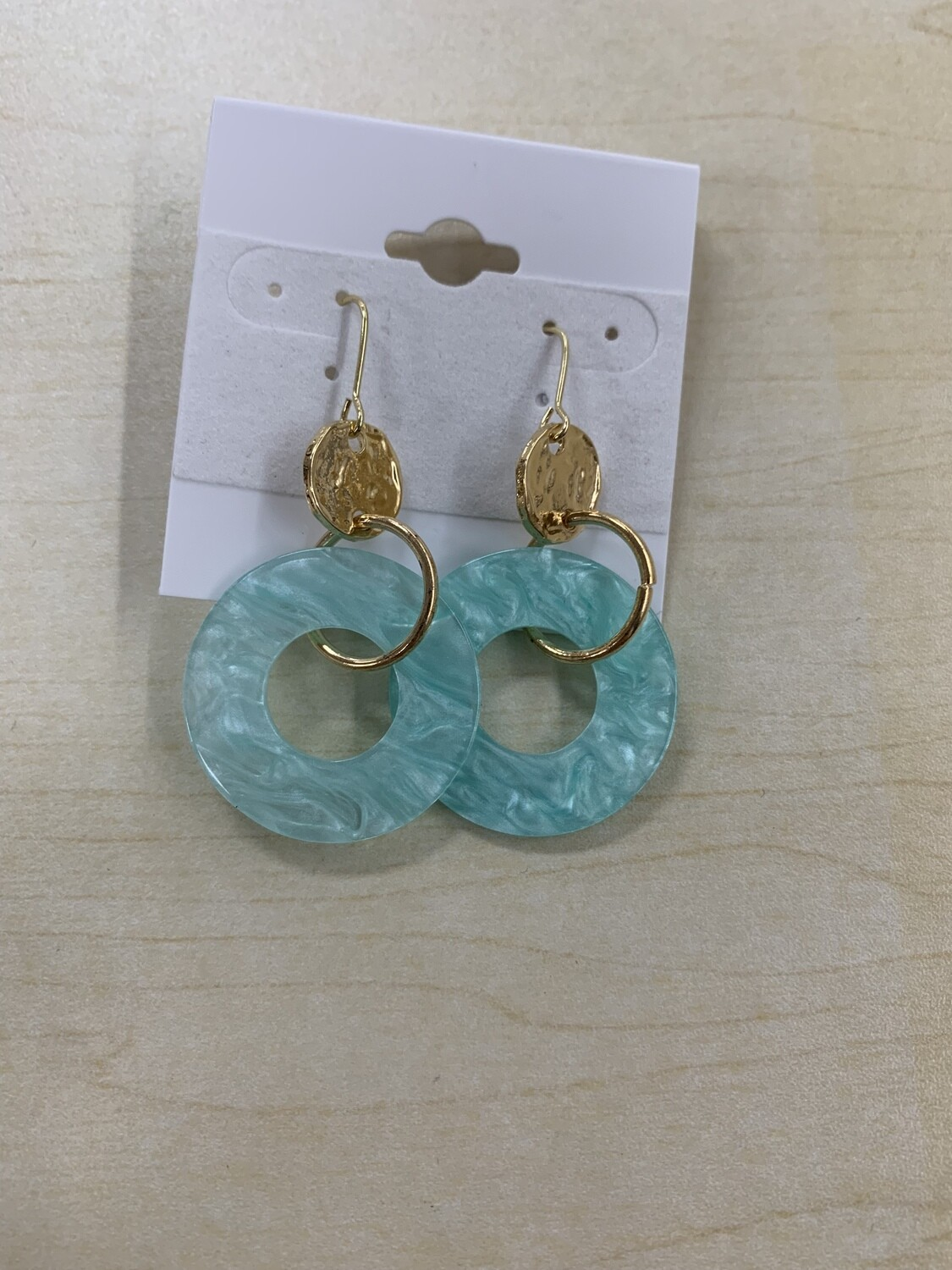 Acrylic and Gold Circle Earrings