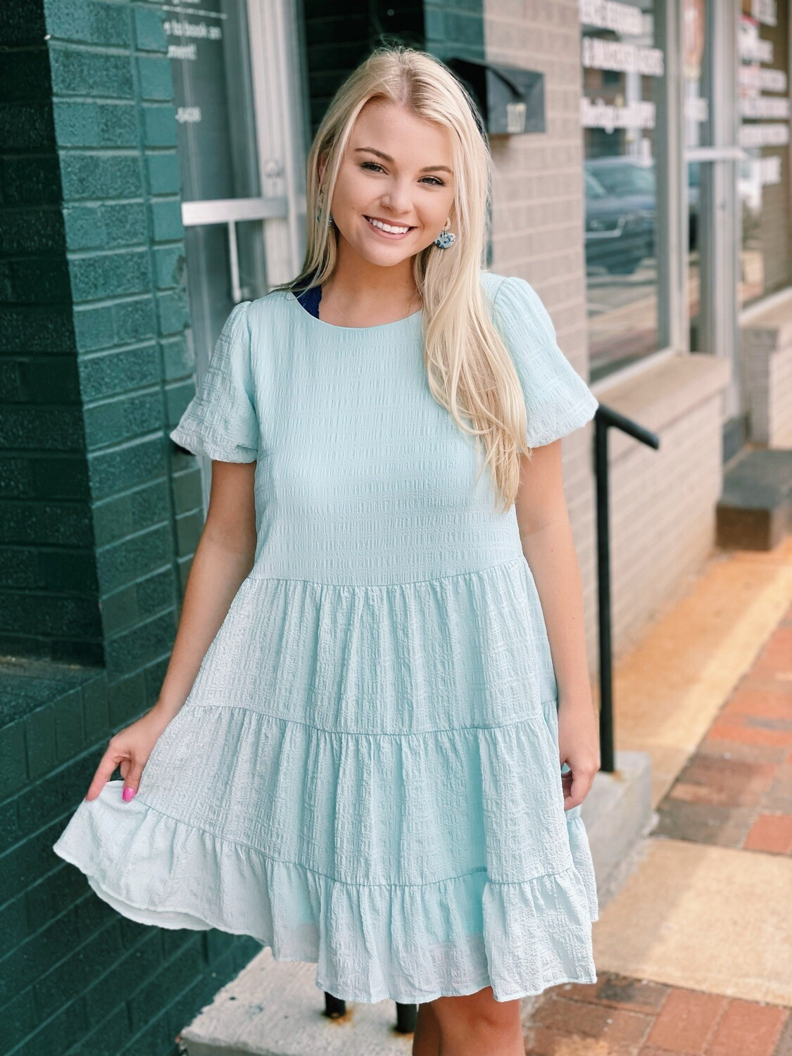 Mint  Bubble Sleeve Textured Tiered Dress