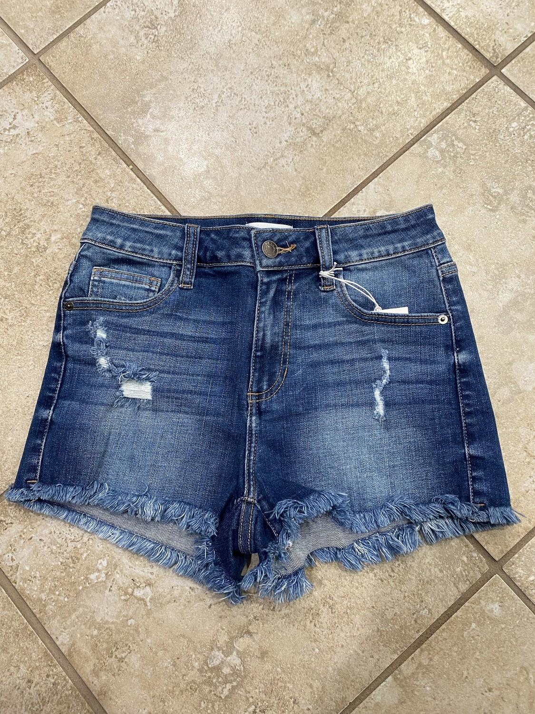Medium Denim High Rise Distressed Shorts